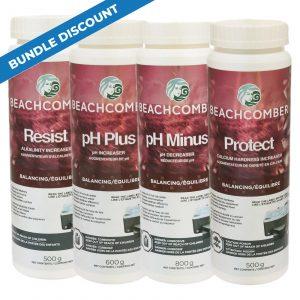Beachcomber Balancing Kit includes Resist 500g pH Minus 800g pH Plus 600g Protect 500g