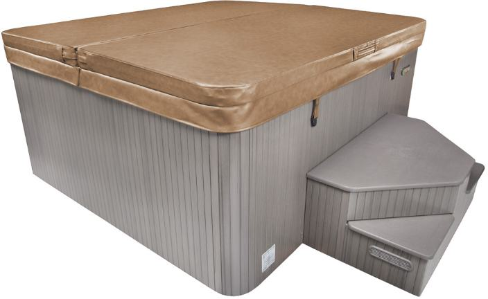 hot tub cover angled with front steps