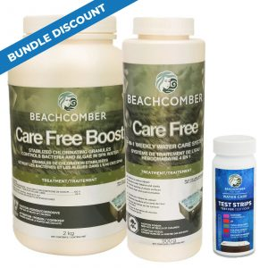 Beachcomber Care Free Water Care includes Care Free Boost 2kg Care Free 900g Beachcomber Test Strips